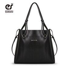 ФОТО ecosusi new women pu leather bag 2 pcs/set women handbag female tote bag high quality women shoulder bags ladies messenger bag