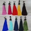 Original handmade multi cores bohemian tecido verde azul rosa vermelha longa queda dangle tassel brincos para mulheres charme jóias