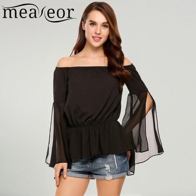 Meaneor Women Slash Neck Off-Shoulder Chiffon Blouses Shirts Flare Sleeve  Low Elastic Waist Blouse