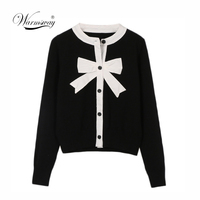 2019 Sweet Cardigan Female Black White Color Block Bow Patchwork O neck Single Breasted Knitted Sweater Women sueter mujer C 041