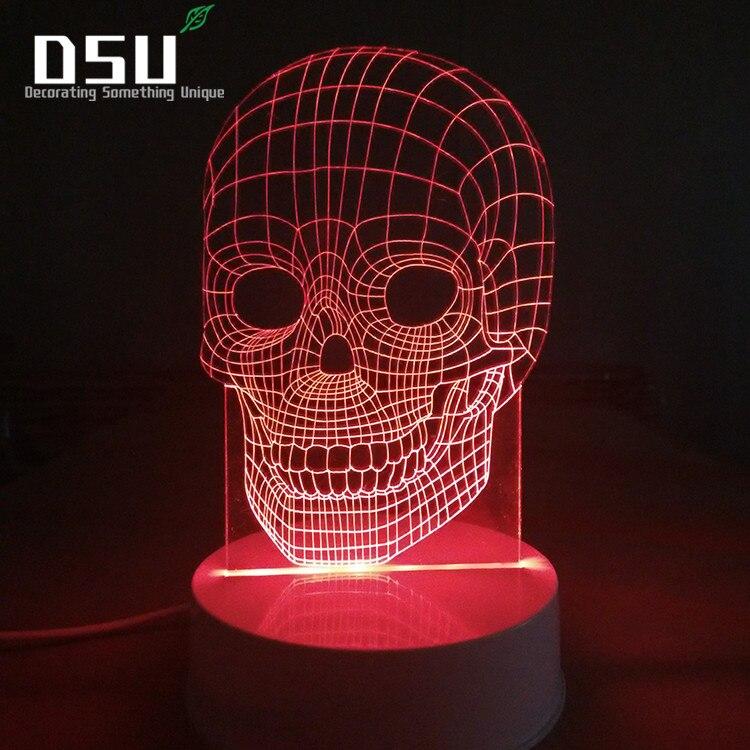 3D Оптические иллюзии череп лампы, ночные огни для всех святых и декор, 7 цветов меняется игрушки и подарки для детей/день рождения