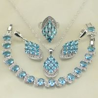 Flower Blue Sapphire White Topaz Sterling Silver Jewelry Sets Earring Pendant Necklace Bracelet Ring Free Gifts