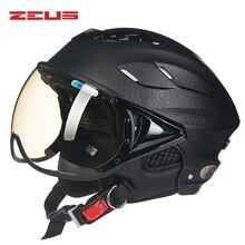 ZEUS Moto Traspirante Mezza Caschi Scooter Casco Open Face Casco Moto Mujer Anti-Uv Casco para Motociclo Maschera Capacetes