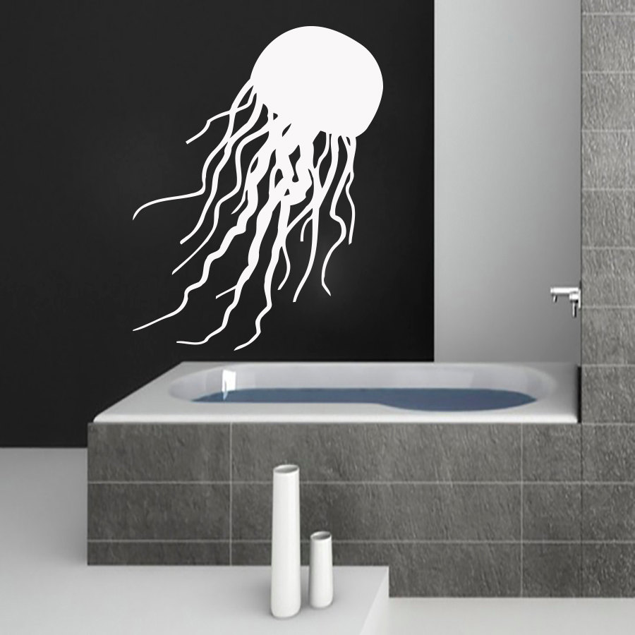 Dctop Factory Price White Jellyfish Wall Sticker Bathroom Waterproof Pvc Self Adhesive Home