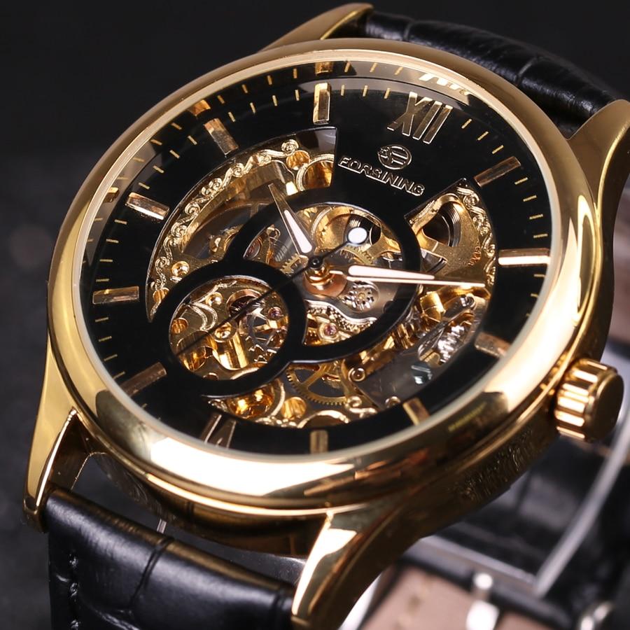Forsining Luxury Clock Men Leather Skeleton Watch Classic