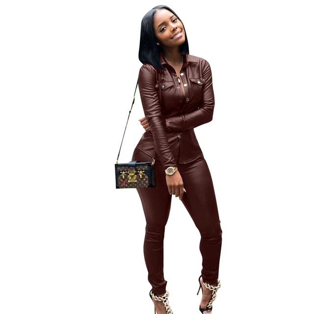 a174d101ef8 PU Leather Plus Size Two Piece Set Women s Suits Crop Top And Pants Sets  Club Outfits