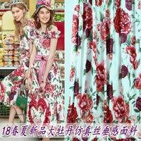 Peony Printing Imitated Silk Fabric Clothing Polyester Flower Printed Fabrics Handmade Cloth DIY Dress Material Skirt