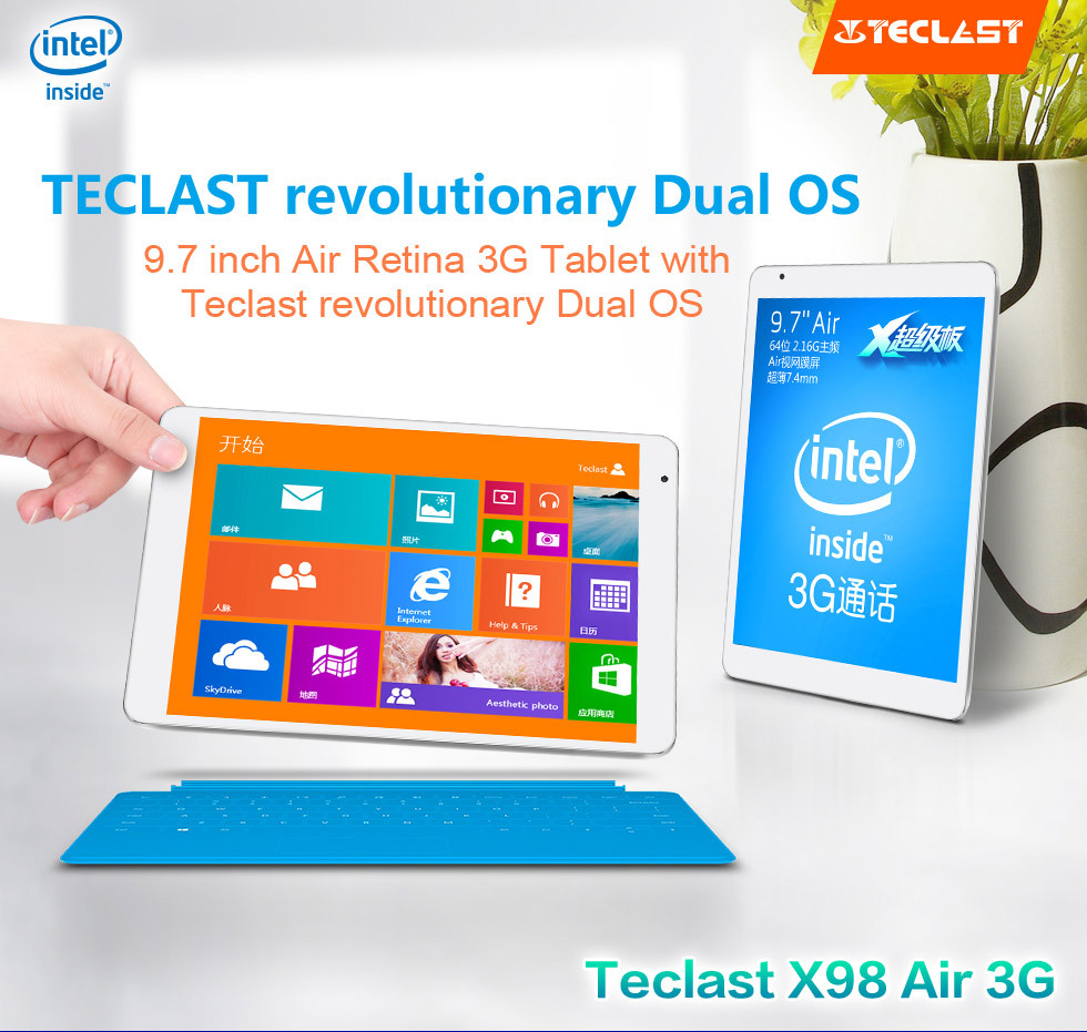 "New arrival in Stock 9.7"" Teclast X98 Air 3G Dual system Tablet PC 2.16GHz Retina Screen 2048x1536 2GB RAM 32GB Phone Call"