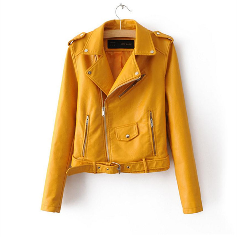 2018 Spring and autumn bright yellow jacket for women of artificial   leather   zippered   leather   coat collar women pu jacket pink