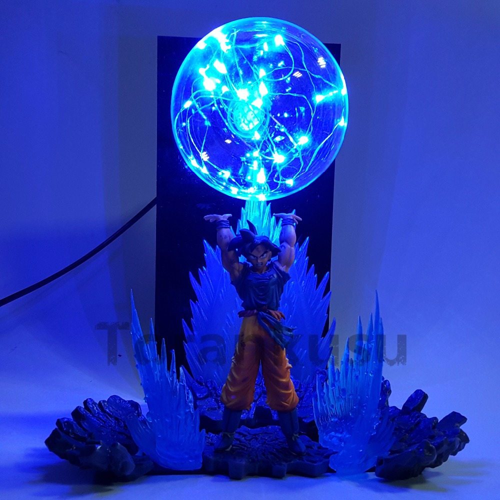 Dragon Ball Z Son Goku Spirit Bomb DIY LED Night Lights Anime Dragon Ball Z DBZ Led Table Lamp Son Goku Action Figure Doll anime dragon ball z golden shenron crystal ball led set dragon ball super son goku dbz led lamp night lights xmas gift