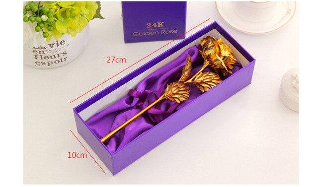 Best Gift For Girlfriend Golden Rose Wedding Decoration Golden Flower Valentine's Day Gift Gold Rose Gold Flower with Box -15 4