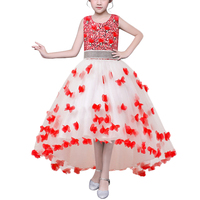 BAOHULU Flower Girl Dress Cô Gái Hoàng Tử Dresses Vestidos với Rhinestone Sash Wedding Party Birthday Quần Áo Trẻ Em Quần Áo