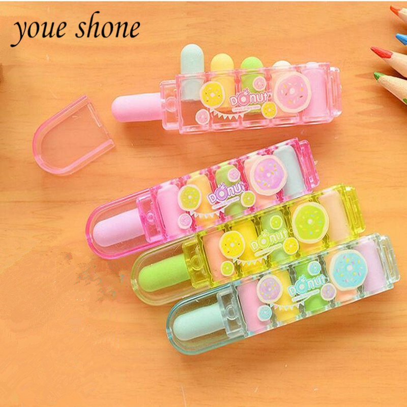 1BOXES Cartoon Plastic Bullet Head Erasers Primary Cute Box Eraser Children's Rubber Boxes Sets FOR GIRL YONE SHONE