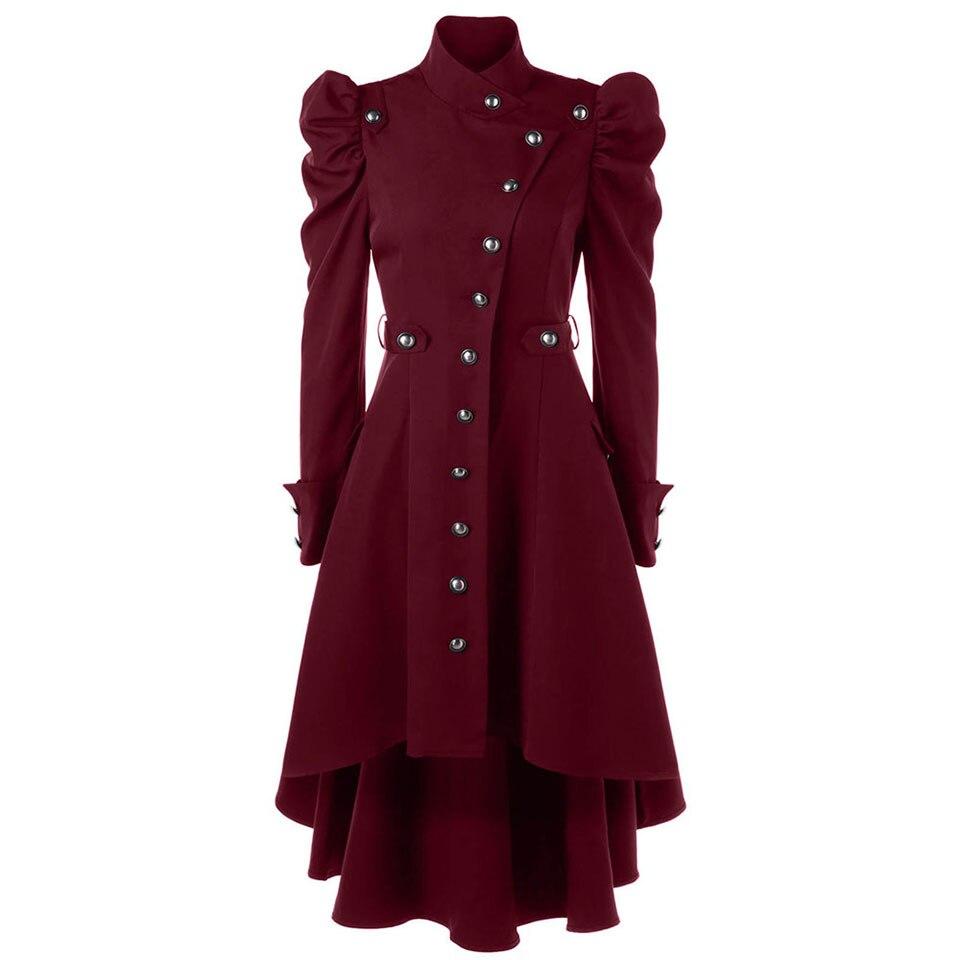 Clocolor Для женщин пальто Готический женский тонкий Однобортный Девушки Зима Теплый Тонкий с длинным рукавом Для женщин пальто Тренч