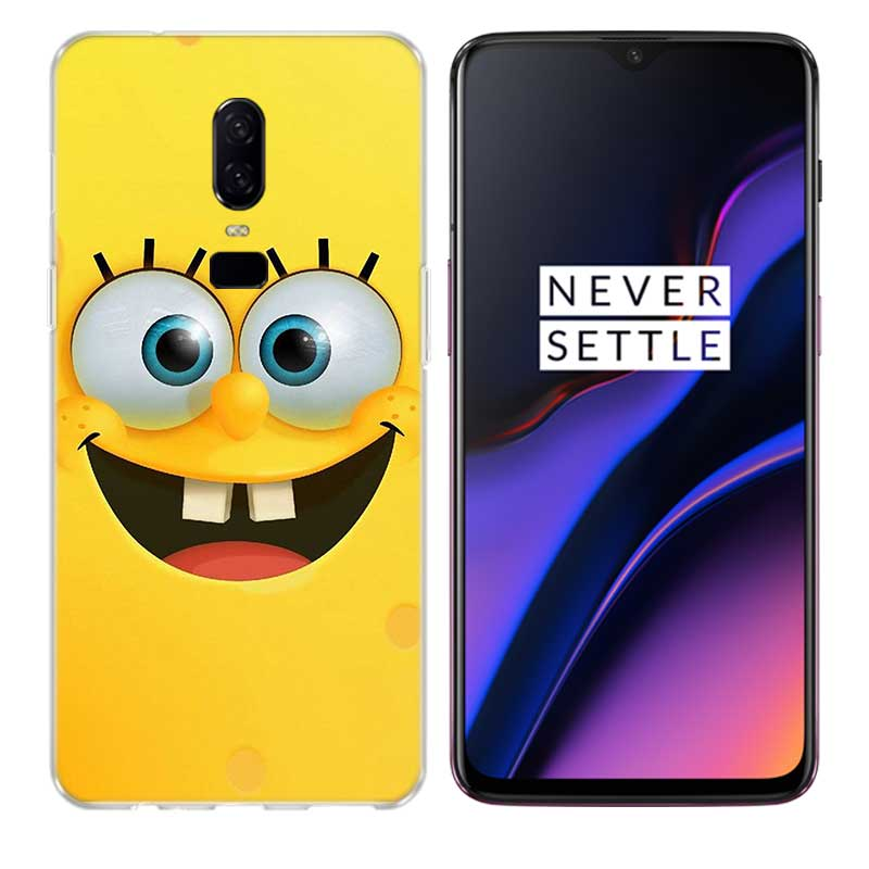 Uyellow Cute SpongeBob SquarePants Silicone Soft TPU Phone Case For One Plus 7 Pro 6 6T 5 5T Fashion Fundas Printed Cover Coque in Fitted Cases from Cellphones Telecommunications