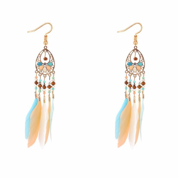 Poem snow Ya zhu feather fringed Earrings