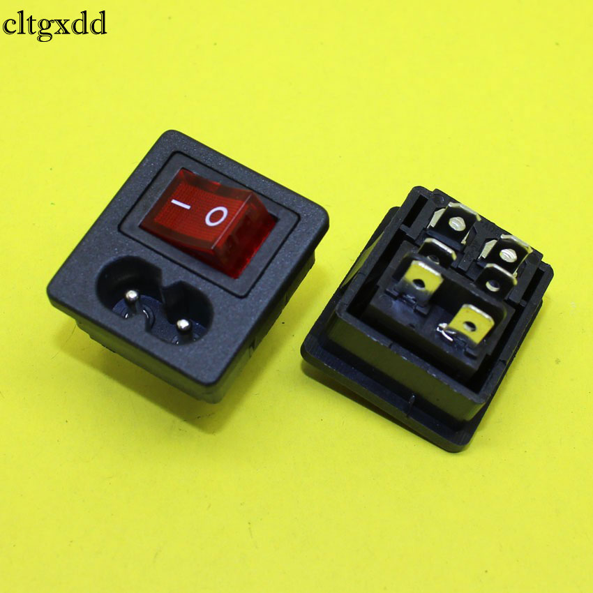 cltgxdd AD-087 IEC320 C8 Power Cord Inlet Socket receptacle With ON-OFF Red Light Rocker Switch 250V 2.5A FOR Computer Amplifier g126y 2pcs red led light 25 31mm spst 4pin on off boat rocker switch 16a 250v 20a 125v car dashboard home high quality cheaper