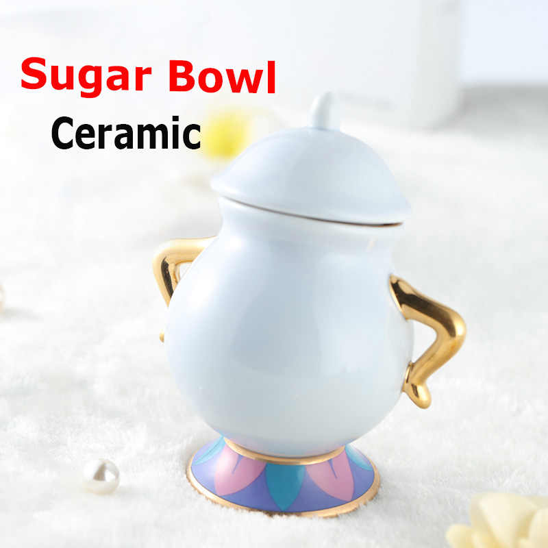 Hot Sale Beauty and The Beast Sugar Bowl Pot Geniune Ceramic Coffee Tea Set Cartoon Xmas Gift Drop Shipping Fast Post