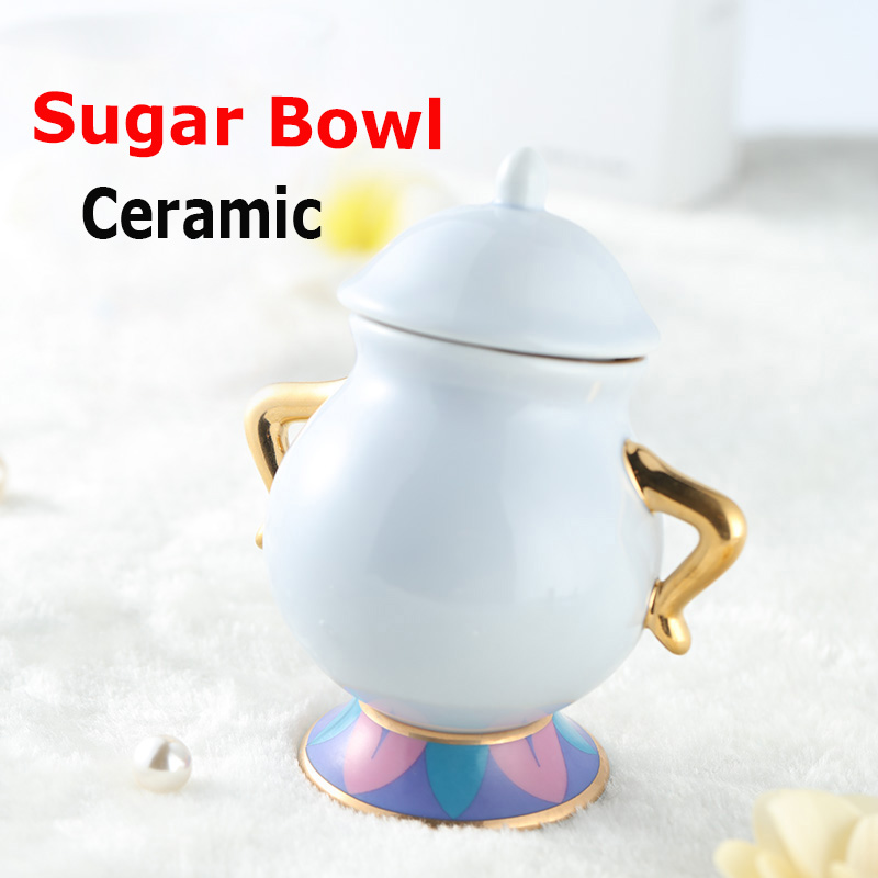 Hot Sale Skönhet och Beast Sugar Bowl Pot Geniune Keramisk Kaffe Te Set Cartoon Xmas Present Drop Shipping Fast Post