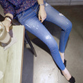2017 Primavera plus size calças jeans versão feminina da Coréia do novos buracos elásticas mulheres de cintura alta sólidos calças cor denim MZ350