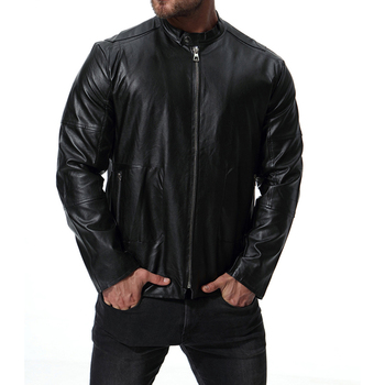2018 New Arrivals Mens Zipper Leather Jacket and Coats Casual Fashion Motorcycle Avirex Leather Jacket Mens Brand Clothing S3258