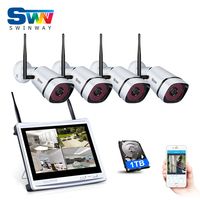 New Plug And Play 4CH Home WIFI CCTV Camer System 12 LCD 960P 1 3MP HD