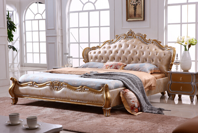 European style king size golden color Leather beds bedroom ...
