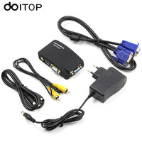 DOITOP AV to VGA PC Laptop Composite Video TV VGA/S Video/Composite RCA/ AV to VGA Converter Switch Adapter Switcher Box