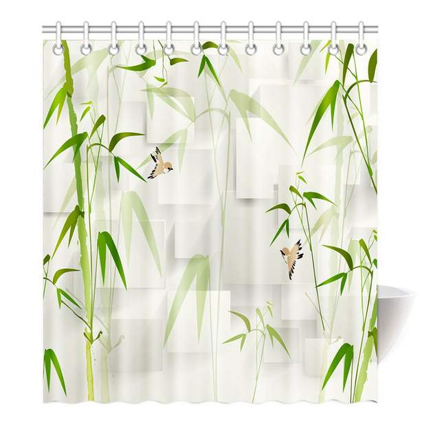 Placeholder Shower Curtain Nature Bamboo Trees Green Art Printing Waterproof Mildewproof Polyester Fabric Bath Bathroom
