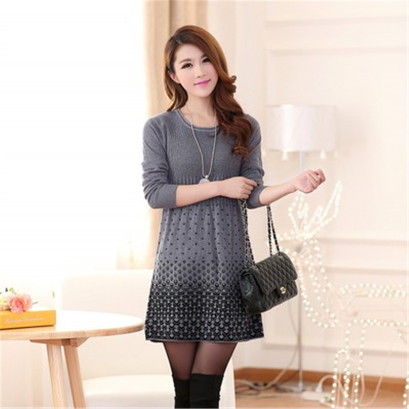 2018 Autumn Winter Sweater Mini Knitted WooL Sweater Dress Plus Size High Quality Warm Women Sweater and Pullovers 4 Colors L912
