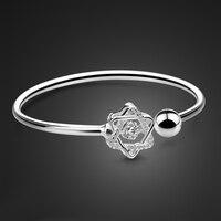 New Women's S925 Sterling Silver Bracelet OL Style Star Pendant Design Solid Silver Bracelet Opening Design Adjustable Size