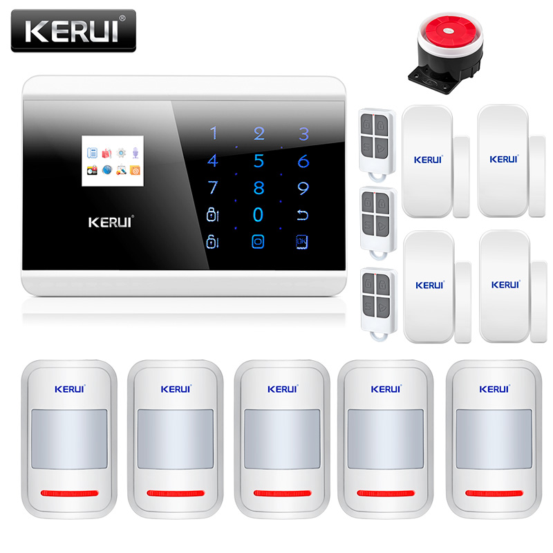 KERUI 8218G GSM PSTN Home Burglar Security Alarm System Android IOS APP Remote Control With 4 Door Sensors 5 Motion Detectors 8218g wireless gsm pstn home alarm system android ios app with touch screen backup lithium english