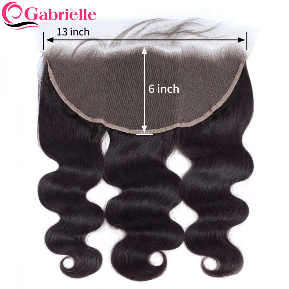 Gabrielle Human Hair Pre Plucked 13x6 Lace Frontal Closure with Baby Hair Brazilian Body Wave Ear to Ear Frontal Remy Hair Weave