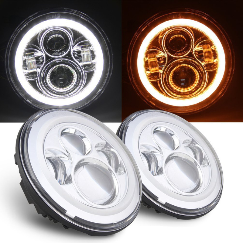 Chrome 7 Inch Round Led Headlamp H4 High/Low Beam With white Halo Yellow Turn Signal For Jeep Wrangler JK 97-15 Defender super bright 105w 7 inch for jeep wrangler jk led driving light 7 high low beam with yellow turn signal led car headlight