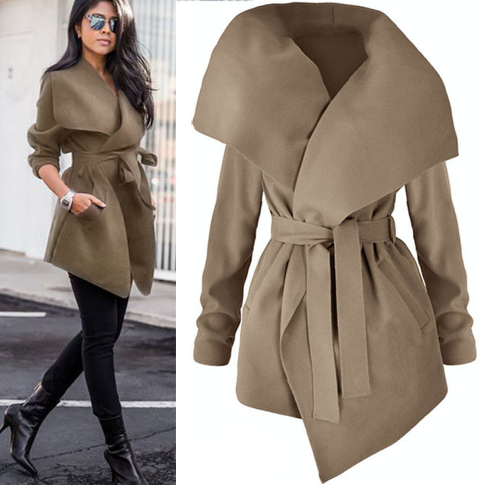 Autumn Women Lapel Belt   Trench   Coat Lace Up Woolen Long Coat Outerwear