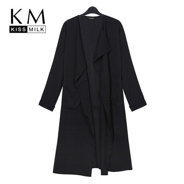 Kissmilk 2017 Women Plus Size 3XL 4XL 5XL 6XL Big Large Size Tie Waist Solid  Office Lady Elegant Slim Long Coat