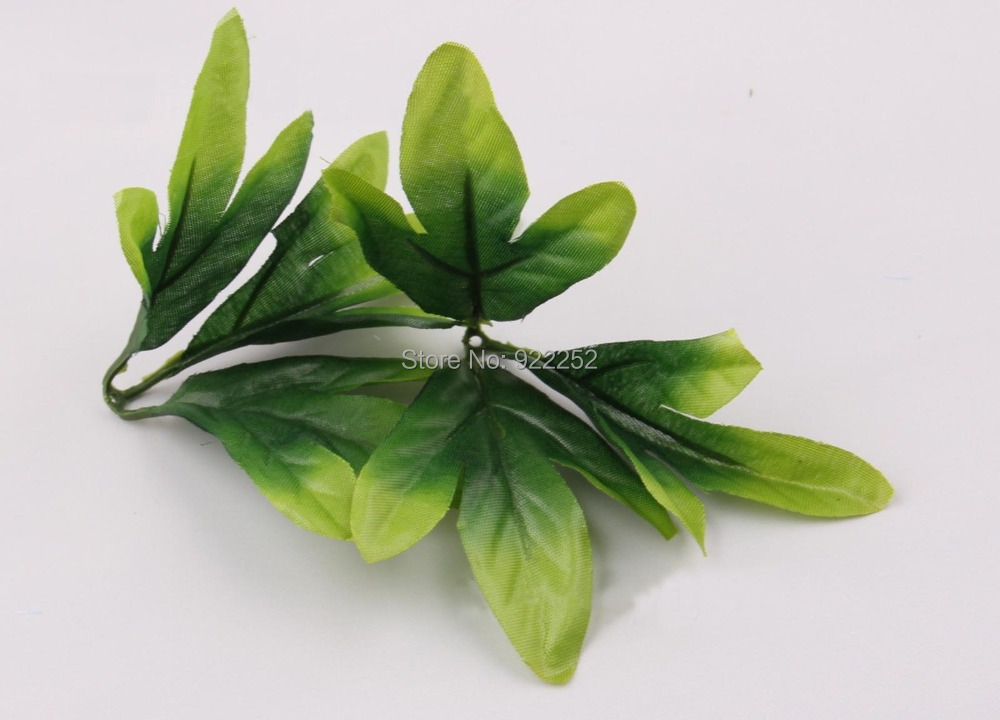 Handmade foliage artificial silk fabric green palm leaves for Artificial leaves for decoration