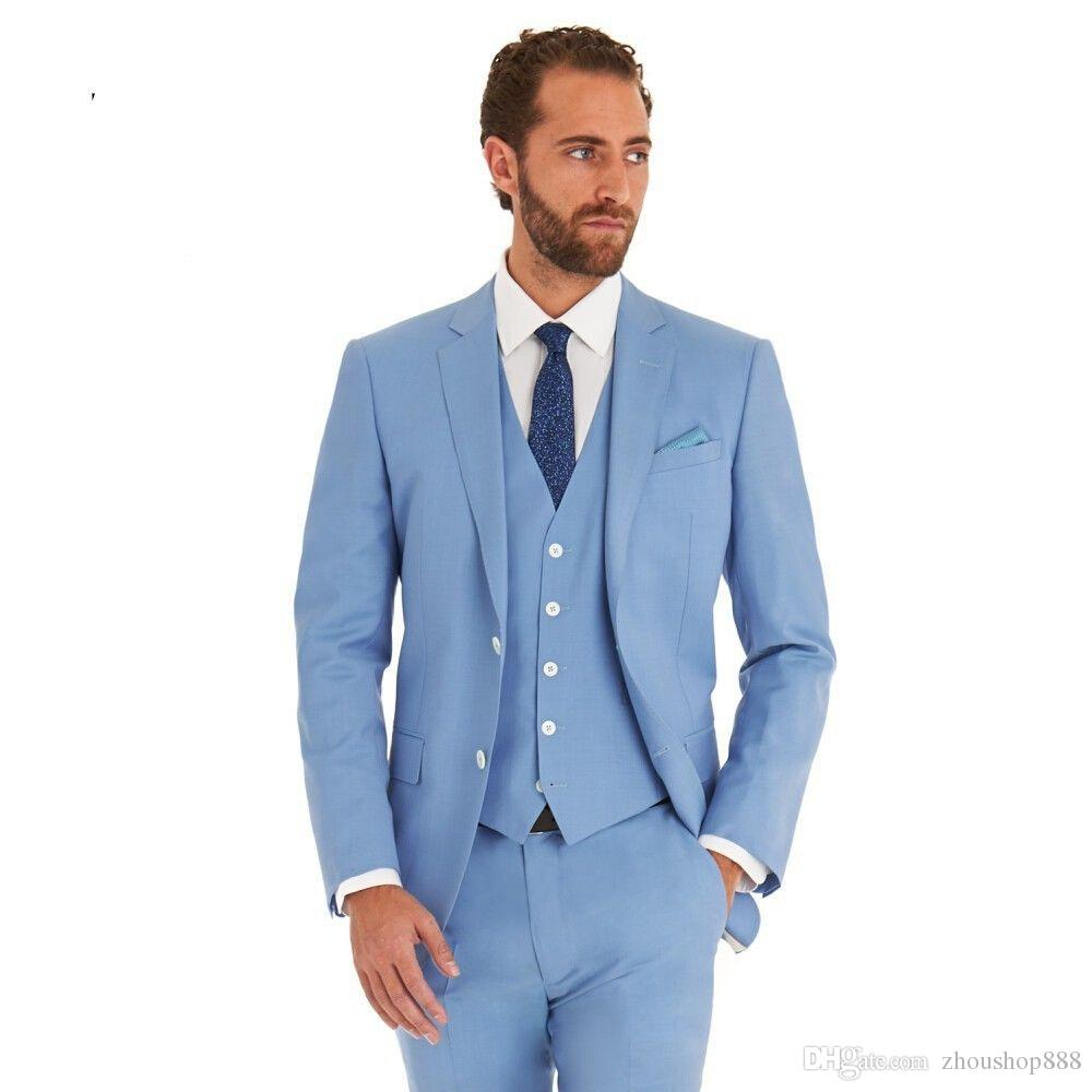 34b51630a77 New Arrival Light Blue Groom Tuxedos Groomsmen Mens Wedding Suits Dinner  Party Best Man Blazer (Jacket+Pants+Vest+Tie) NO 1490-in Suits from Men s  Clothing ...