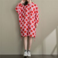 Autumn Vintage Women Shirts Loose Slim Cotton And Linen Fat Long Open Blouse Shirt Red Wave