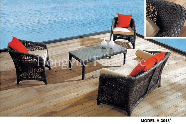 Negro muebles de ratán sofá de jardín conjunto con cojines
