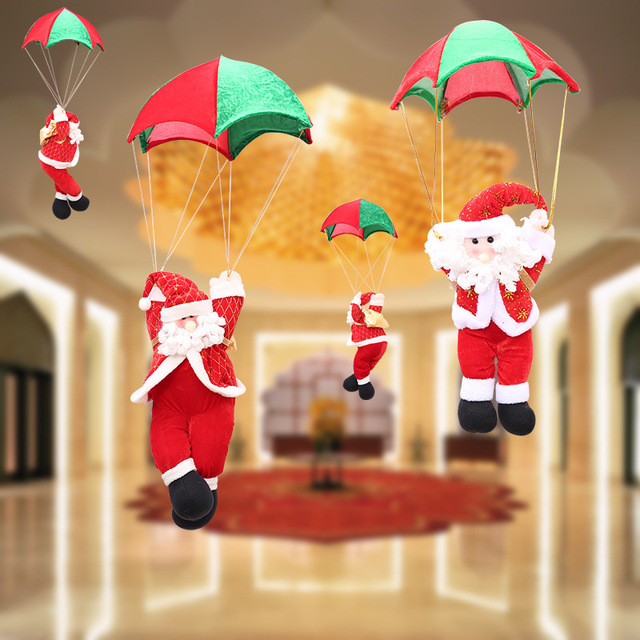 1Pcs Christmas Home Ceiling Decorations 5 Size Parachute Santa Claus New Year Hanging Pendant Decoration