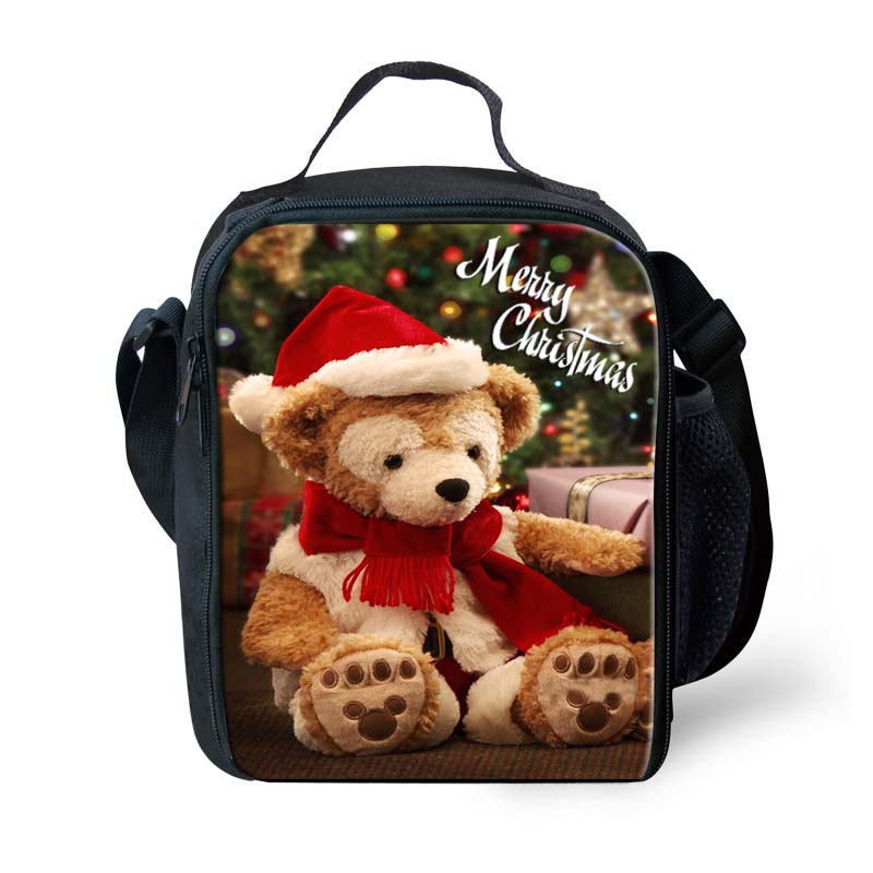 Wholesale Merry Christmas Baby Insulated Lunch Bag 3D Bear Printing Lunch Box Bags For Kids Travel Picnic Food Bag FORUDESIGNS