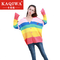 2018 Women New vintage warm sweaters Rainbow Striped pullovers 2018 winter Spring knitted retro loose knitted tops blusas
