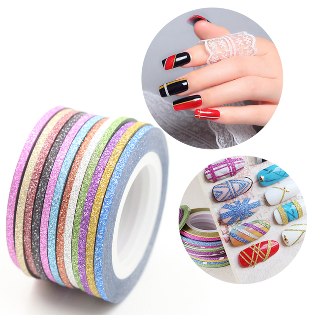 12 Colors Matte Color Rolls 2mm Striping Tape Line Rough Styles Nail ...