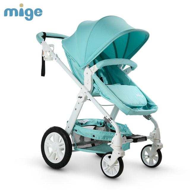 Mige Bebé Cochecito de Neumáticos de Caucho Marco De Aluminio Cochecito de Bebé Del Basculador Color 4 Disponible Para