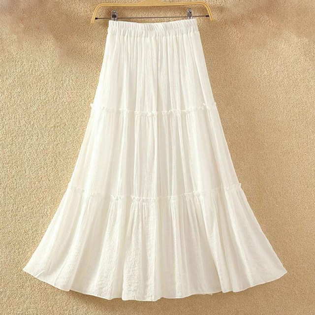 2019 Women Casual Linen Cotton Long Skirts Solid Elastic Waist Pleated Maxi Skirts Beach Boho Vintage Summer Skirts