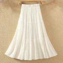 2019 Women Casual Linen Cotton Long Skirts Solid Elastic Waist Pleated Maxi Skirts Beach Boho Vintage Summer Skirts