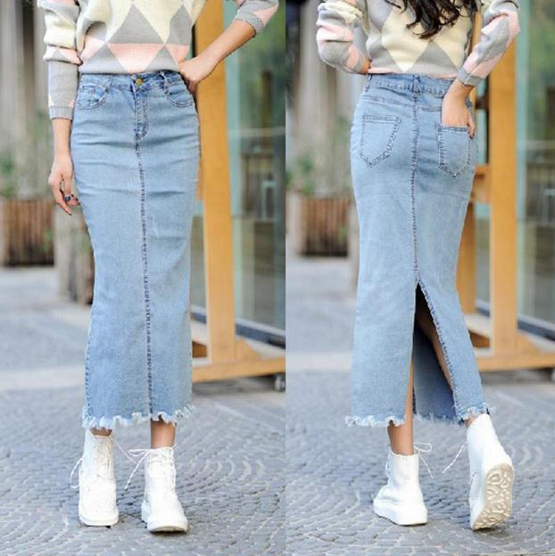 2017 moda para mujer faldas largas las mujeres denim jeans lápiz flaco  vintage alta cintura faldas faldas saia jupe longue aw360 en Faldas de Ropa  y ... e52cf9a5737f