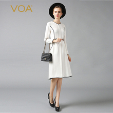 VOA white silk dress female fashion slim new long sleeved OL dresses A6305