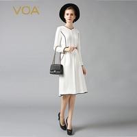 VOA Heavy Silk Pearl Beading Office Work Midi Dress Women Big Size Solid White Elegant Casual Slim Tunic Long Sleeve Fall A6305